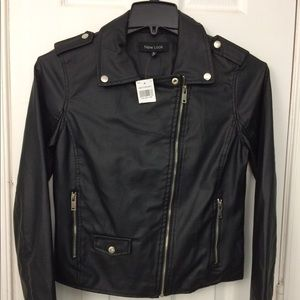 New Look Faux Leather Moto Jacket Sz M NWT